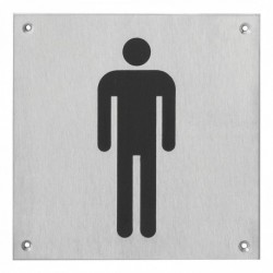 Pictogram groot WC heren RVS