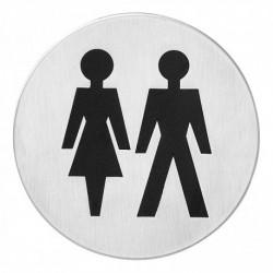 Pictogram zelfklevend rond WC dames en heren RVS