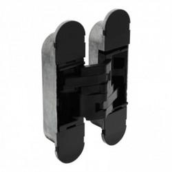Scharnier zamak 130x30, 3D verstelbaar, binnenwerk zwart - zwarte afdekkappen