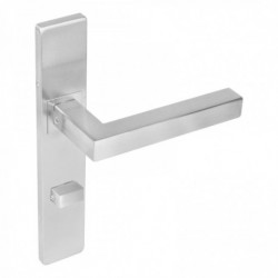 Deurkruk 1337 Vierkant op verdekt rechthoekig WC-schild met 7mm nokken - RVS geborsteld - EN1906/4