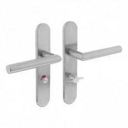 Deurkruk 1297 Hoek 90° op verdekt WC-schild met klein krukgat en 7mm nokken - RVS geborsteld - EN1906/4