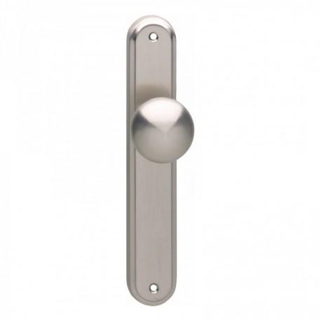 Knop rond vast op langschild blind met stift M10/8mmx89 - Nikkel Mat