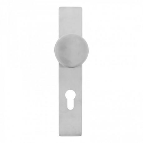 Knopschild lang verdekt rechthoekig met profielcilindergat en 7mm nokken - EN1906/4 - RVS geborsteld