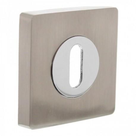 Sleutelplaatje vierkant 53x8 gleuf ovaal 7mm nokken chroom/nikkel mat