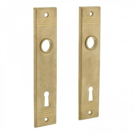 Renovatie kortschild met groef en sleutelgat - 180 mm lang bij 41 mm breed - Messing Getrommeld