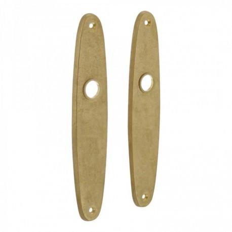 Schild ellips blind - 224 mm lang bij 45 mm breed - Messing Getrommeld