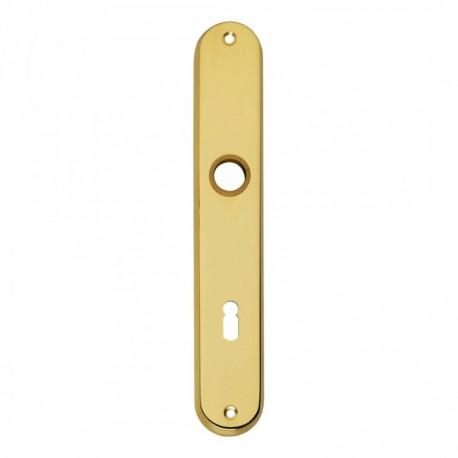 Langschild ovaal met sleutelgat - 235 mm lang bij 40 mm breed - Messing Gelakt