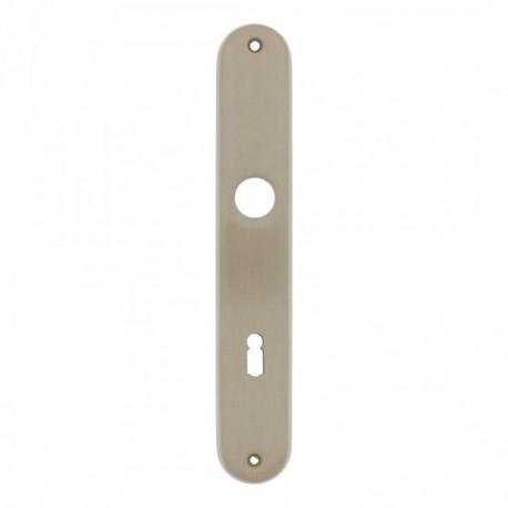 Langschild ovaal met sleutelgat - 235 mm lang bij 40 mm breed - Nikkel Mat