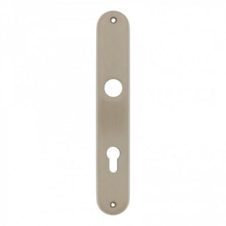 Langschild ovaal met profielcilindergat - 235 mm lang bij 40 mm breed - Nikkel Mat