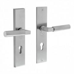 Veiligheid-garnituur SKG*** rechthoekig kruk/kruk met profielcilindergat - Chroom Mat