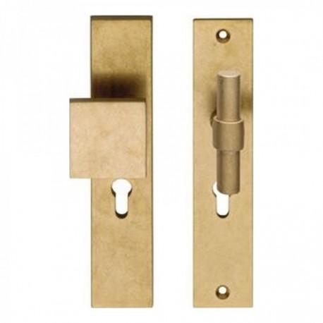 SKG3 Veiligheid-beslag met rechthoekige deurgreep, model-T kruk recht en profielcilindergat - Messing Getrommeld