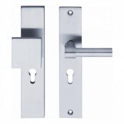 SKG3 Veiligheid-beslag met rechthoekige deurgreep, model-L kruk recht en profielcilindergat - Chroom Mat