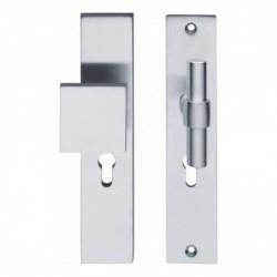 SKG3 Veiligheid-beslag met rechthoekige deurgreep, model-T kruk recht en profielcilindergat - Chroom Mat