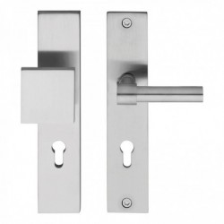 Veiligheid-deurbeslag SKG3 rechthoekig schild duwer/kruk model L recht - profielcilindergat - RVS geborsteld