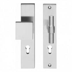 Veiligheid-deurbeslag SKG3 rechthoekig schild duwer/kruk model T recht - profielcilindergat - RVS geborsteld