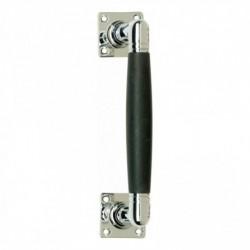Greep Ton 110/180mm op rozet vierkant nikkel/ebbenhout