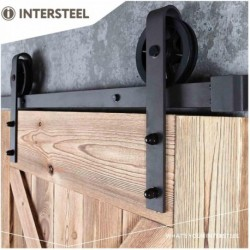 Schuifdeursysteem 2 meter, hangrollen met spaakwiel 340mm, staal mat zwart