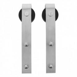 Set van 2 rollers recht 290mm tbv schuifdeursysteem 450101, incl. bevestiging, roestvast staal