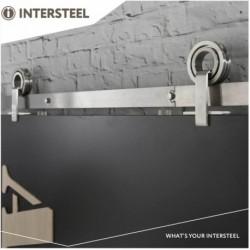 Schuifdeursysteem 2 meter, hangrollen met open wiel 155mm, roestvast staal