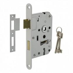 Woningbouw klavier dag- en nachtslot 55mm, voorplaat afgerond wit gelakt, 20x175, doorn 50mm incl. sluitplaat en 2 sleutels
