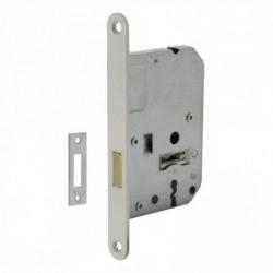 Woningbouw klavier kastslot 55mm, voorplaat afgerond wit gelakt, 20x175, doorn 50mm incl. sluitplaat