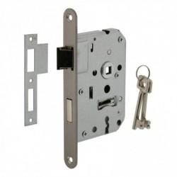 Woningbouw klavier dag- en nachtslot 55mm, voorplaat afgerond rvs, 20x175, doorn 50mm incl. sluitplaat en 2 sleutels