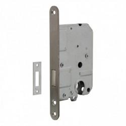 Woningbouw cilinder kastslot 55mm, voorplaat afgerond rvs, 20x175, doorn 50mm incl. sluitplaat