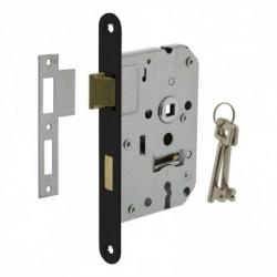 Woningbouw klavier dag- en nachtslot 55mm, voorplaat afgerond zwart gelakt, 20x175, doorn 50mm incl. sluitplaat en 2 sleutels