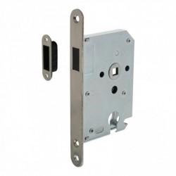 Woningbouw magneet cilinder dag- en nachtslot 55mm, voorplaat afgerond rvs, 20x175, doorn 50mm incl. sluitplaat/kom
