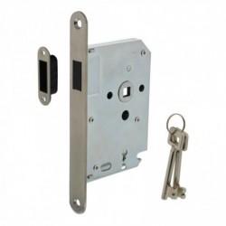 Woningbouw magneet klavier dag- en nachtslot 55mm, voorplaat afgerond rvs, 20x175, doorn 50mm incl. sluitplaat/kom en sleutels