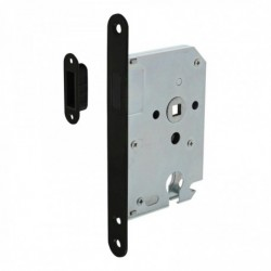 Woningbouw magneet cilinder dag- en nachtslot 55mm, voorplaat afgerond zwart, 20x175, doorn 50mm incl. sluitplaat/kom