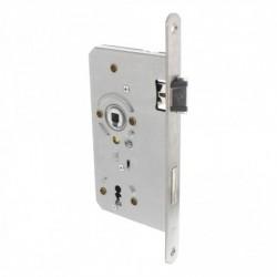Sleutel dag- en nachtslot 72mm met fluisterschoot, rvs voorplaat afgerond 20x235, doorn 8x60, DIN rechts