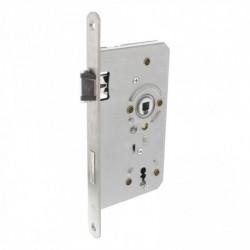 Sleutel dag- en nachtslot 72mm met fluisterschoot, rvs voorplaat afgerond 20x235, doorn 8x60, DIN links