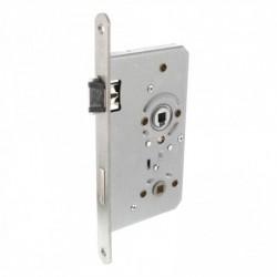 Badkamer/toiletslot 72/8mm met fluisterschoot, rvs voorplaat afgerond 20x235, doorn 8x60, DIN links