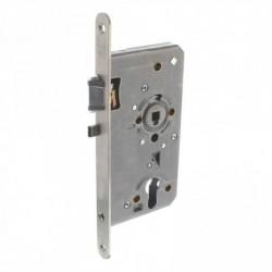 Centraalslot met fluisterschoot en blokkeerpal, rvs voorplaat afgerond 20x235, doorn 8x60, DIN links